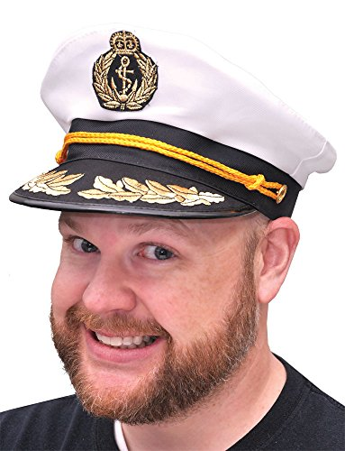 [Yacht Captain Hat Sea Skipper White Navy Sailor Cap Costume Boater Hat Party] (Ship Captain Costumes)