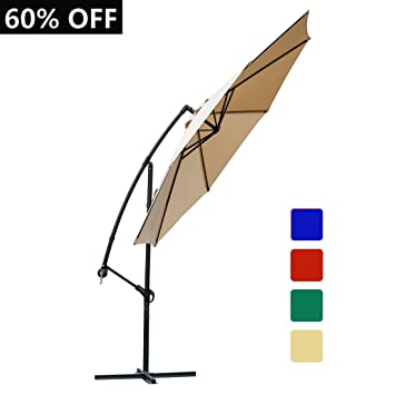 FARLAND 10 Ft Offset Cantilever Patio Umbrella Outdoor Table Market Hanging  Umbrellas With Cranks, 8