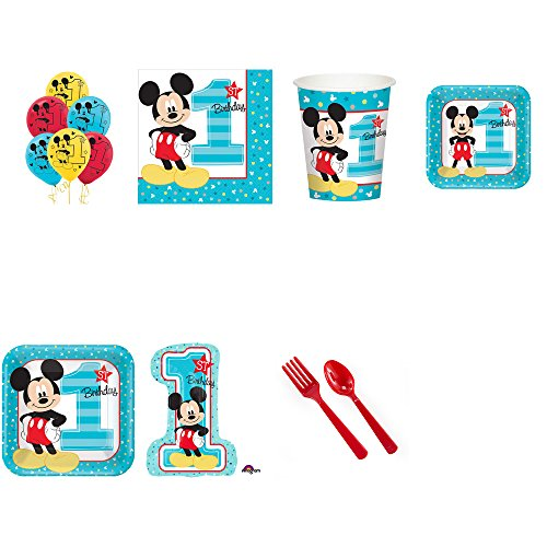 Mickey Mouse First Birthday Party Pack Supplies for 24]()