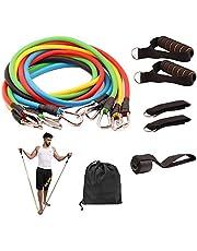 مجموعة معدات متعددة الاستخدامات لتمارين اللياقة البدنية مكونة من أحزمة لتمارين المقاومة مع أحزمة قابلة للتكديس للتمارين الرياضية وأشرطة للكاحل والساقين، 11 قطعة