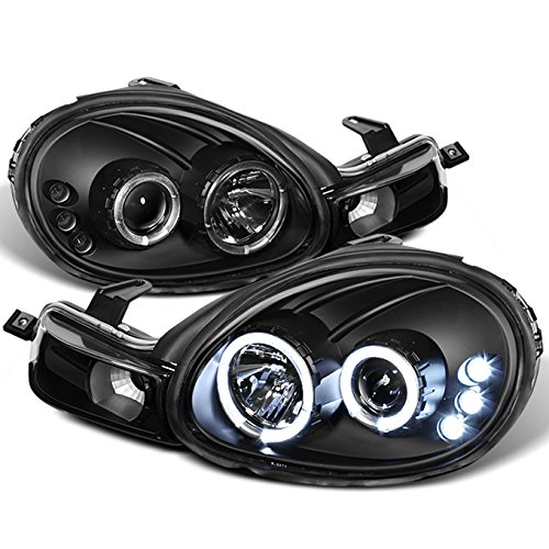 For Dodge Neon Plymouth Neon Black Bezel Dual Halo Ring Design Projector Headlights Lamps - Dodge Halo Headlights Neon