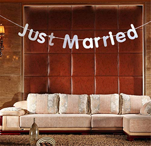 CHASIROMA Just Married Banner Sign Garland for Wedding Bridal Shower Bachelorette Party Decorations Photo Props 3M