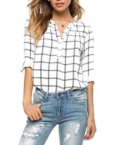 MIXMAX Women V-neck Cuffed Sleeve Loose Casual White Plaids Tunic Shirt Blouses Top Plaid Large