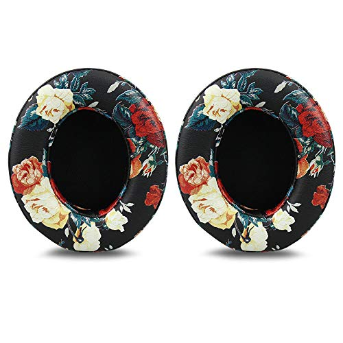 Beats Studio 2/3 Replacement Earpads,Protein Leather/Memory Foam Ear Cushion Pads Cover Ear Cups for Beats Studio 2.0 Wired/Wireless B0500/B0501  Studio 3.0 Over Ear Headphones,Floral Black