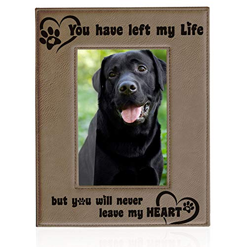 - Kate Posh You Have Left My Life but You Will Never Leave My Heart. Engraved Leather Picture Frame, Paw Prints on My Heart Memorial Gifts for Cat or Dog, Pet Sympathy Memory Gift (4