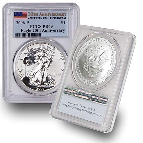 2006 P American Silver Eagle Proof Coin $1 PR69 PCGS 20th Anniversary ()