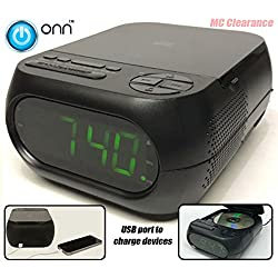 Onn CD/AM/FM Alarm Clock Radio with USB port to charge devices + with Large 1.2 inch green LED display + Aux-in jack, Top Loading CD player ONA202 (Refurbished)