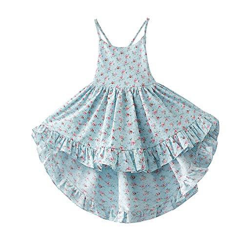 Bcaur Girls' 2T-12 Cotton Floral Dress Summer Backless Casual Sundress (6-7, Light Blue)