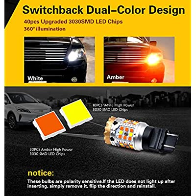 LASFIT CANBUS 3157 3057 4157 Anti Hyper Flash White/Yellow mode Switchback LED Front Turn Signal Light Bulb, Plug & Play Standard Socket (Pack of 2): Automotive