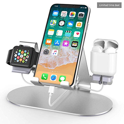 3 in 1 Aluminum Charging Station for Apple Watch Charger Stand Dock for iWatch Series 4/3/2/1,iPad,AirPods and iPhone Xs/X Max/XR/X/8/8Plus/7/7 Plus /6S /6S Plus/