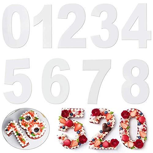 AMACOAM Nummer Cake Tins Grote Nummer Cake Mould 0-8 Numbers Set 10 Inch Acryl Bakken Cake Mallen Tool voor Gelaagde…