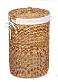 BirdRock Home Seagrass Laundry Hamper with Liner - Round Clothes Bin with Lid - Organize Laundry - Cut-Out Handles for Easy Transport - Includes Machine Washable Canvas Liner