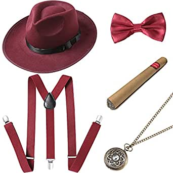 BABEYOND 1920s Mens Gatsby Costume Accessories Set Includes Panama Hat Elastic Y-Back Suspender Pre Tied Bow Tie Pocket Watch and Plastic Cigar (Set-1)