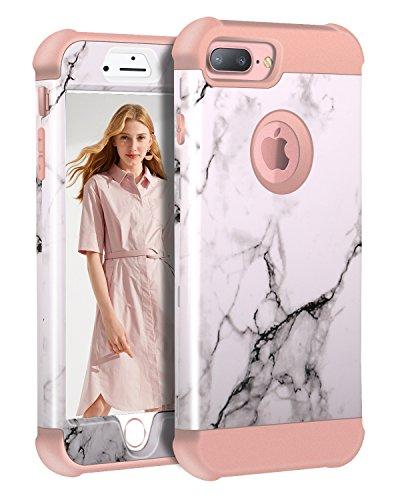 iPhone 8 Plus/7 Plus/6S Plus/6 Plus Marble Case, KAMII Tri-Layer Soft Flexible Silicone and Hard PC Hybird Defender Bumper Case for Apple iPhone 6 Plus/6S Plus/7 Plus/8 Plus 5.5