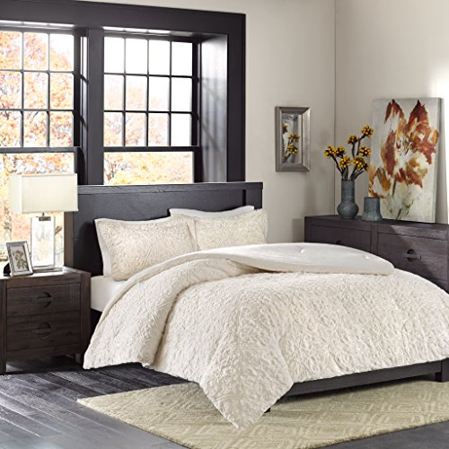 Madison Park Bismarck Full/Queen Size Bed Comforter Set - Ivory, Embroidered Medallion – 3 Pieces Bedding Sets – Faux Fur Plush Bedroom Comforters -