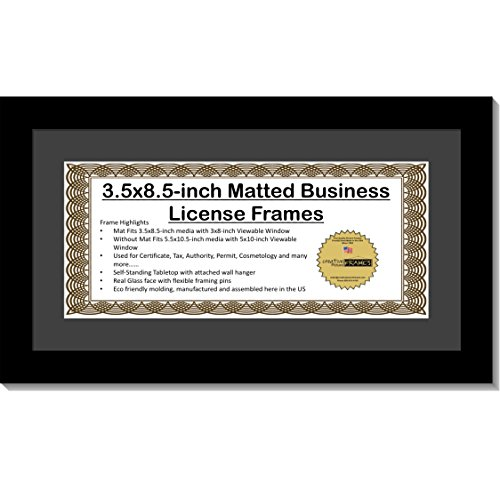 CreativePF [5.5x10.5bk-b] Black Business License Certificate Frame for Professionals Holds 3.5 by 8.5 with Black Mat Includes Self Standing Easel Back with Hanger