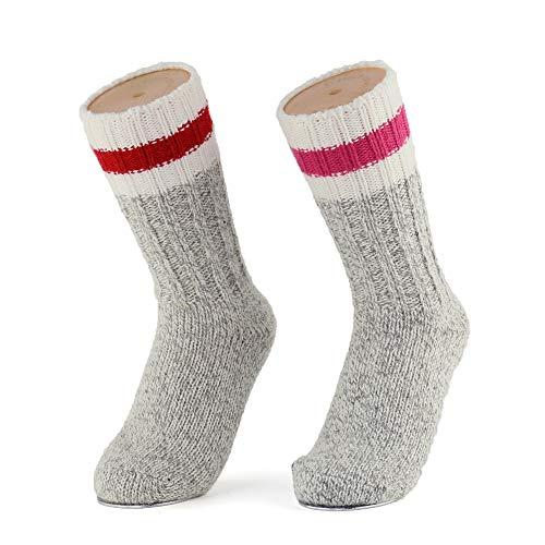 2 Pairs Merino Wool Hiking Trekking Winter Thick Warm Boot Crew Socks for Winter,Women,Men,Kids