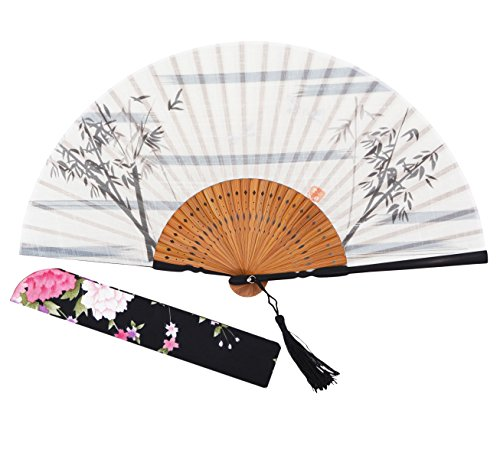 Amajiji Japanese Traditional Retro Craft Handhelp Folding Fan,Portable Women Bamboo Hand Fan,8.66