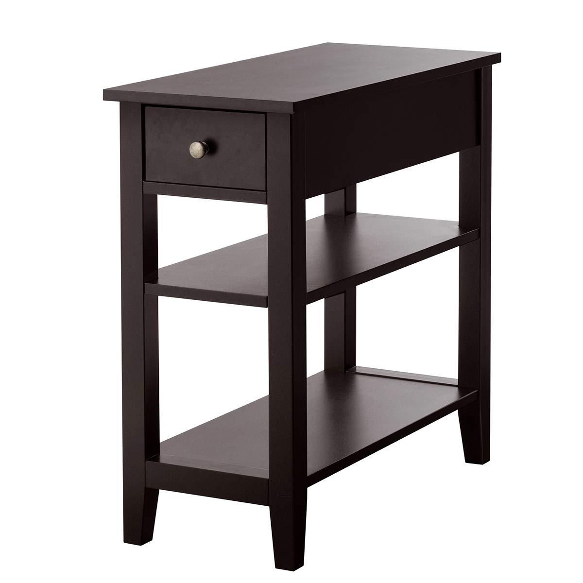 Giantex 3-Tier End Table with Drawer and Double Shelves Narrow Tiered Side Table for Bedroom, Living Room Home Office Telephone Table Nightstand 1, Dark Brown