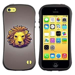Suave TPU GEL Carcasa Funda Silicona Blando Estuche Caso de protección (para) Apple Iphone 5C / CECELL Phone case / / Lion Face Mane Yellow Big Cat Art Drawing Cartoon /