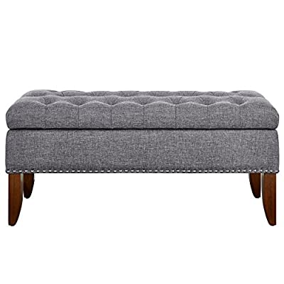 """Pulaski Hinged Top Button Tufted Bed Heathered Grey, 41.50"""" W x 15.75"""" D x 18.50"""" H Upholstered Storage Bench, - This tufted storage Bench combines sophisticated styling with practical features and comfort to create the ideal storage and seating option for your Bedroom, entryway or den. Seating surface is upholstered with plush high density foam and Diamond button tufting for a soft, decadent seating solution Durable, linen-like fabric cover features a delicately woven texture and lightly feathered effect for a trendy look - entryway-furniture-decor, entryway-laundry-room, benches - 51N9ZwC07cL. SS400  -"""