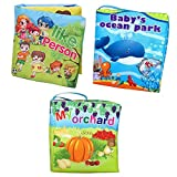 Agooding Nontoxic Soft Cloth Baby Books Set of 3-Bright Color Pictures for Boys or Girls-visual Learning,expression Keepsake.