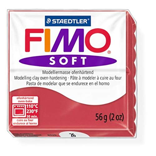 Staedtler Fimo Soft Cherry Red (26) Oven Bake Modelling Clay Moulding Polymer Block Colour 56g (1 Pack)