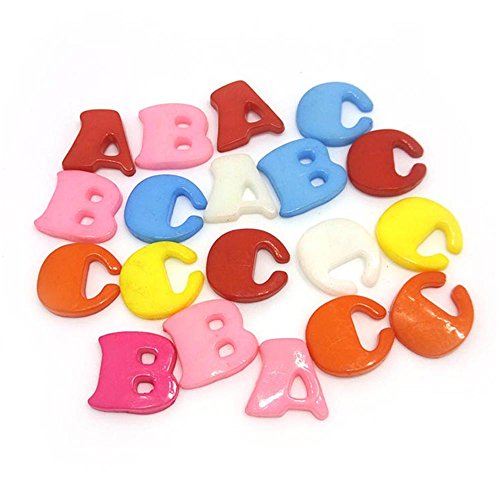Alphabet Buttons (100pcs A B and C Mixed Plastic Buttons in Bulk Buttons for Crafts Button Alphabet Colorful (plastic buttons))