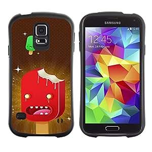Paccase / Suave TPU GEL Caso Carcasa de Protección Funda para - Ice Cream Art Cartoon Characters Red Stars - Samsung Galaxy S5 SM-G900