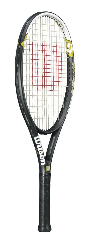Wilson Hyper Hammer 5.3 Strung Adult Recreational Tennis Racket (Black/White, 4 1/2)