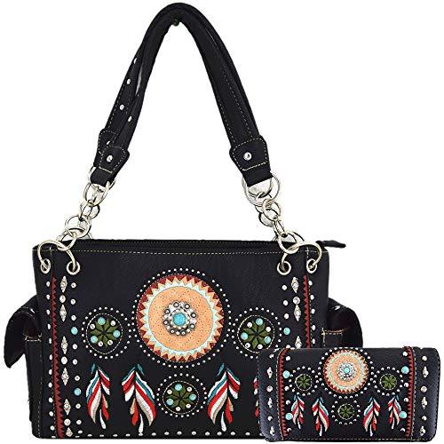 Native Tribal Feather Conchos Concealed Carry Purse Rhinestone Tote Handbag Women Shoulder Bag Wallet Set (Black Set)