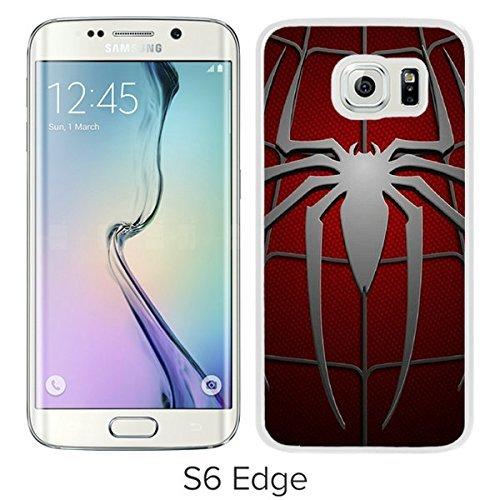 Spiderman Symbol White Samsung Galaxy S6 Edge Screen Cover Case Luxurious and Fashion Design