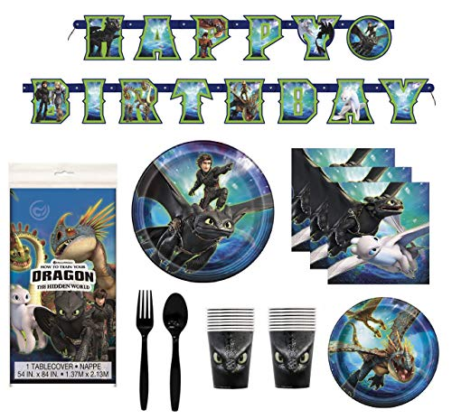 How To Train Your Dragon 3 Birthday Decorations And Tableware Plates Napkins Cups Table Cover Banner Premium Plastic Cutlery Serves 16]()