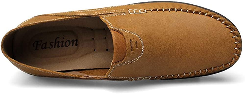 Mens Shoes Leisure Driving Loafers for Men Round Toe Oxfords Casual Flat Penny Shoes Leather Upper Slip On Stitch Walking Boat Shoes Lightweight Fashion