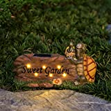 Excmark Garden Statue Figurine with Solar Powered LED Lights for Outdoor Garden Yard Decoration. Lawn Ornaments and Gardening Housewarming Gifts with Solar Animals. (Turtles)