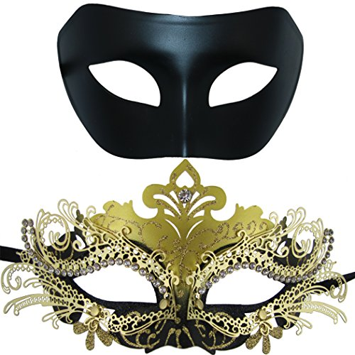 Couple Masquerade Metal Masks Venetian Halloween Mardi Gras Mask 2 Pack (Black&Black-Gold)