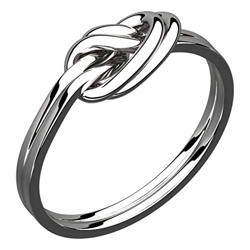 Silver Plated Celtic Double Love Knot Ring Symbolizes Unity and Protection - 10 (Celtic Protection Ring compare prices)
