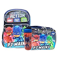 PJ Masks Large 16 Inches School Backpack with Lunch Bag Water Bottle Set