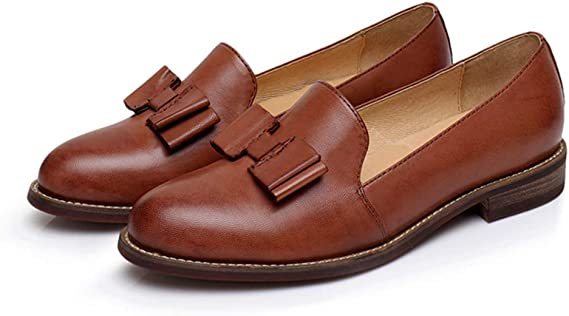 Charmstep Mocasines de mujer Zapatos planos Brogues de cuero Vintage Casual Zapatos Oxford Work School: Amazon.es: Ropa y accesorios