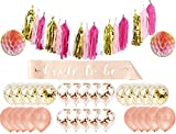 Rose Gold Pink Bachelorette Party Decorations Kit- 34 Count Bridal Shower Decorations and Bachelorette Party Supplies: Bride to Be Bridal Sash, Rose Gold Balloons, Rose Gold & Gold Confetti Balloons,