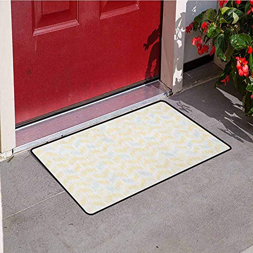 (GloriaJohnson Yellow Chevron Welcome Door mat Ikat Style Abstract Sketchy Looking Faded Zigzag Motif Tile Door mat is odorless and Durable W29.5 x L39.4 Inch Marigold Pale Blue White)