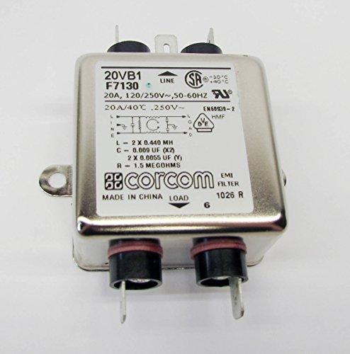 Corcom 20VB1 EMI Filter, 20A 120/250V 50-60Hz