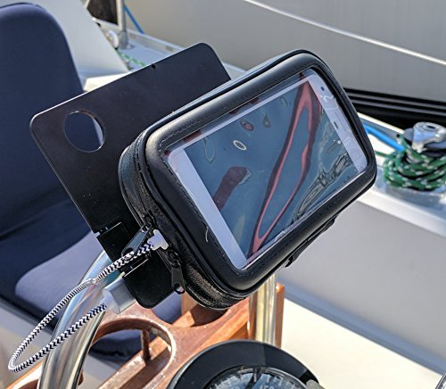 Binnacle Mate + Boat Helm Solid-Secure Mount with its own (Included) Power Bank - Works on Phones and Tablets