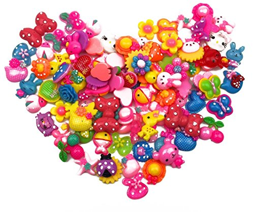 Hyamass 120 Gram (Approx 100pcs) Assorted Cartoon Flower Animal Flat Back Resin Charms Hair Clip Flatback DIY Craft Jewelry Decoration Pieces