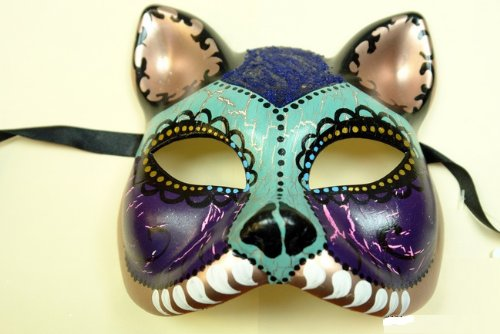 Purple Skyblue Cat Figure Half Face Hand-painted Paper Mache Mask
