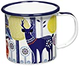 Folklore Enamel Coffee Mug, Day Design, White, (14 Ounces)