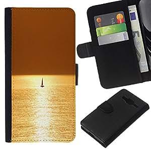 KLONGSHOP // Tirón de la caja Cartera de cuero con ranuras para tarjetas - Mar Velero Velero Verano - Samsung Galaxy Core Prime //