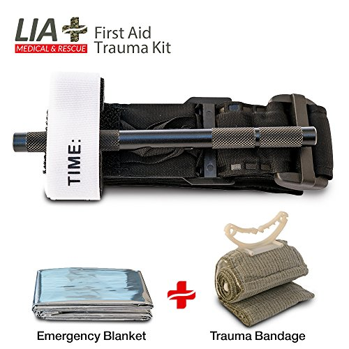 Tourniquet Combat Action IV Trauma Kit - Lia Medical Gen 4 Military Army Tactical Swat Application The Best Life Saving First Aid Bleeding Control Pack with Emergency Bandage and a Mylar Blanket