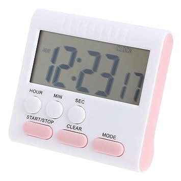 Temporizador de cocina digital LCD, cuenta atrás y cuenta atrás de 24 horas, multifunción, alarma eléctrica, reloj de cuenta atrás rosa: Amazon.es: Hogar