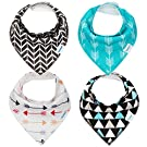 Bandana Baby Bib Set by Bambinio - 4 Unisex Design Drool Bibs for Boys and Girls - Best Newborn and Baby Shower Gift - Soft, Comfortable and Adjustable